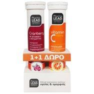 PharmaLead Πακέτο Προσφοράς Cranberry με Βιταμίνη C & Ψευδάργυρο 20Αναβρ.Δισκία +  Βιταμίνη C 550mg - Πορτοκάλι 20Αναβρ.Δισκία