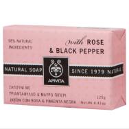 Apivita Natural Soap Σαπούνι με Τριαντάφυλλο & Μαύρο Πιπέρι 125g