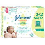 Johnson's Baby Μωρομάντηλα CottonTouch 2+2 Δώρο 224τμχ