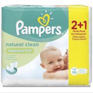 Pampers Πακέτο Προσφοράς Natural Clean Wipes Μωρομάντηλα με Απαλή Απορροφητική Υφή, Χωρίς Άρωμα 2+1 Δώρο, 3 x 64τμχ