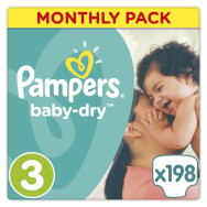 Pampers Baby Dry Midi No. 3 (4-9kg) Monthly Pack 198 τμχ, μόνο 0,21€/πάνα