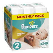 Pampers Premium Care Monthly Pack No2 (3-6kg) 240 πάνες, μόνο 0,14€ / πάνα